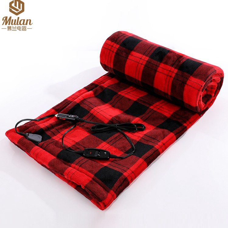 12V Electric Car Blanket, Trunk Travel Heated Blanket Fleece Travel Throw for Car and RV